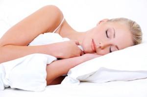 Calm face of a sleeping woman